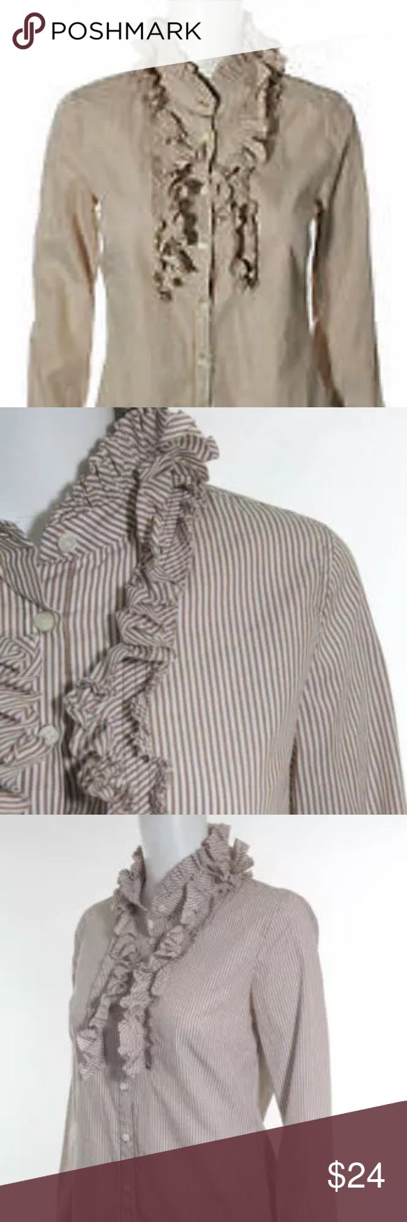 """J.Crew Brown White Stripe Cotton L/S Blouse 2 Brown and White Stripe Confetti Ruffle Button Down Shirt Size women's 2 Bust is about 33.5"""" Natural waist 36"""" Neckline to hem is about 24"""" Originally $89.50 Smoke and animal free      Check out this review from collegecandy.com """"Ladies, this stripe confetti ruffle shirt from J. Crew is the current #1 on my lust list.  It's a departure from the standard white or blue button-down oxford we're all used to wearing when we want to look polished and…"""
