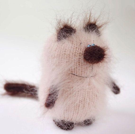 Siamesische Katze gestrickte Spielzeug Miniatur von MiracleStore