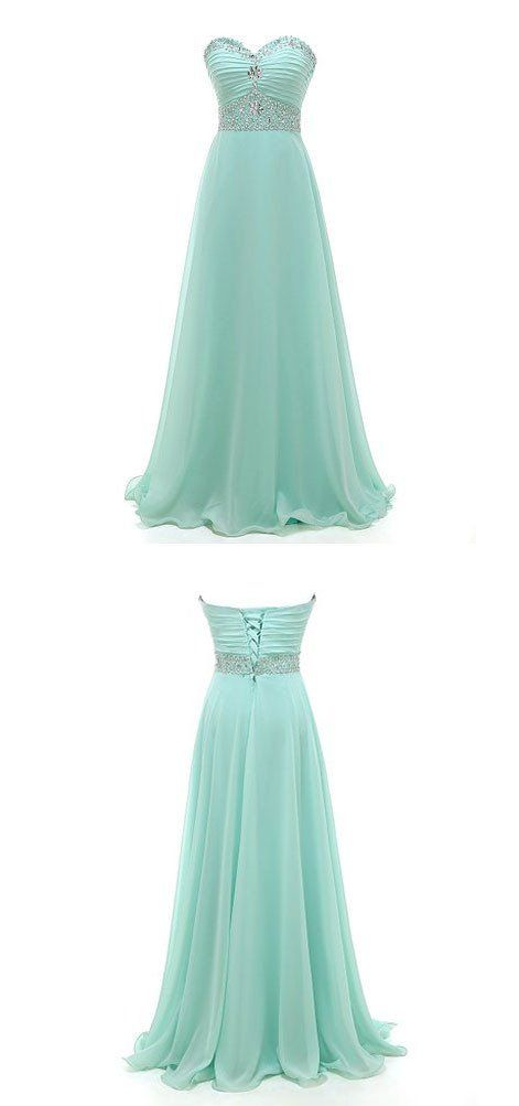 Classy Sweetheart A-line Party Dresses,Strapless Party Dresses,Chiffon Party Dresses,Crystal Party Dresses,Long Party Dresses This dress could be custom made, there are no extra cost to do custom size
