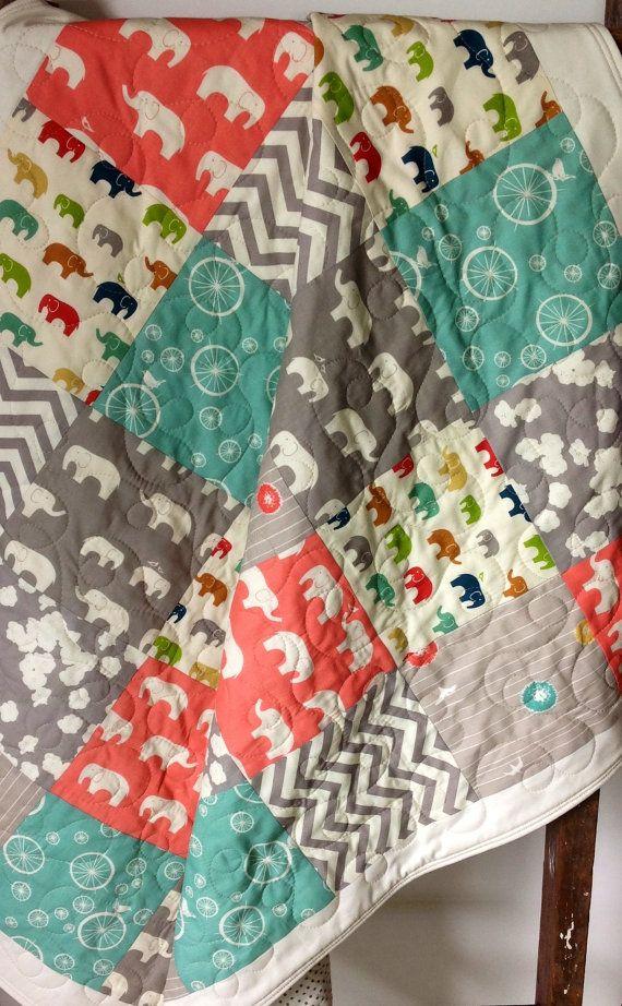 Elephant Baby Quilt, Organic, Gender Neutral,Birch Fabrics, Elephants, Ellie Fam, Jay-Cyn Designs, Chevrons, Coral, Pool, Grey, Cream