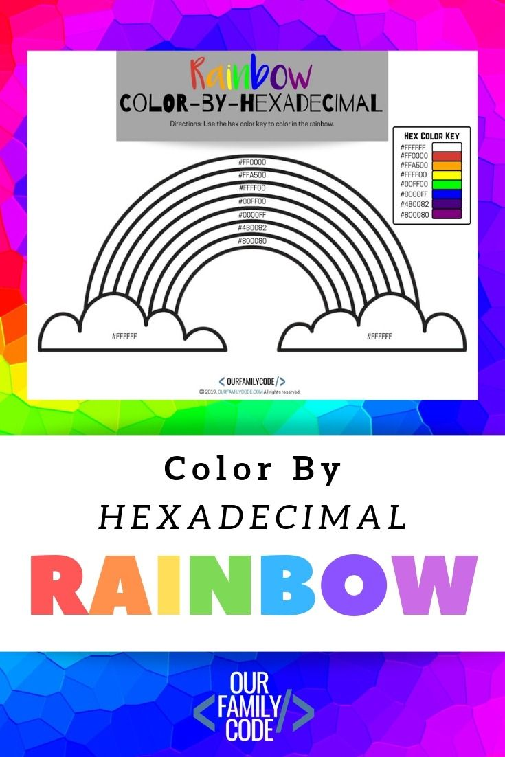 Color By Hexadecimal Rainbow Coding Activity Our Family Code Unplugged Coding Activities Teaching Kids Craft Activities For Kids [ 1102 x 735 Pixel ]