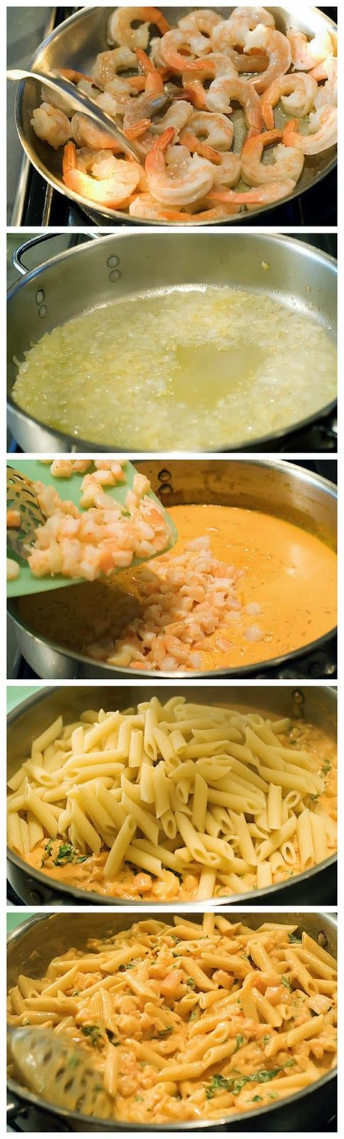 Pasta with succulent shrimp, creamy tomato sauce, garlic wine and herbs.  Perfect for date night or a girls night in!