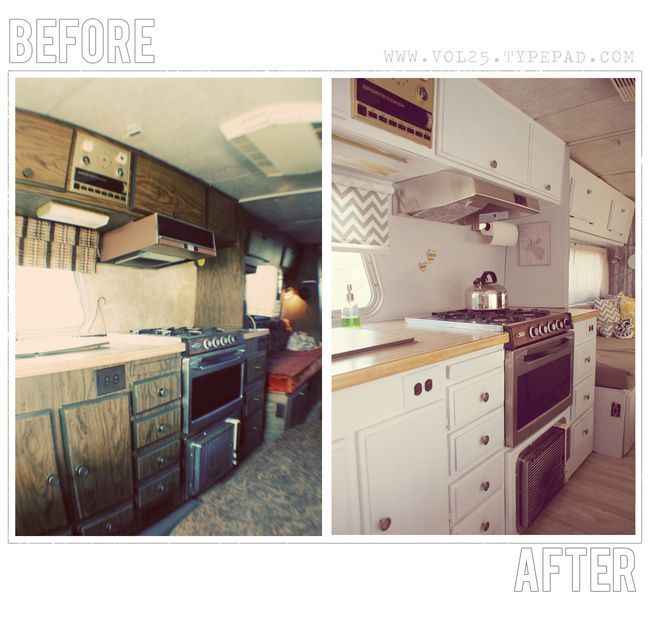 camper remodel ideas- elbow grease, paint, a hammer and a sewing machine is all we need to do this, uh, right? Nice outcome for their efforts, don't you agree?