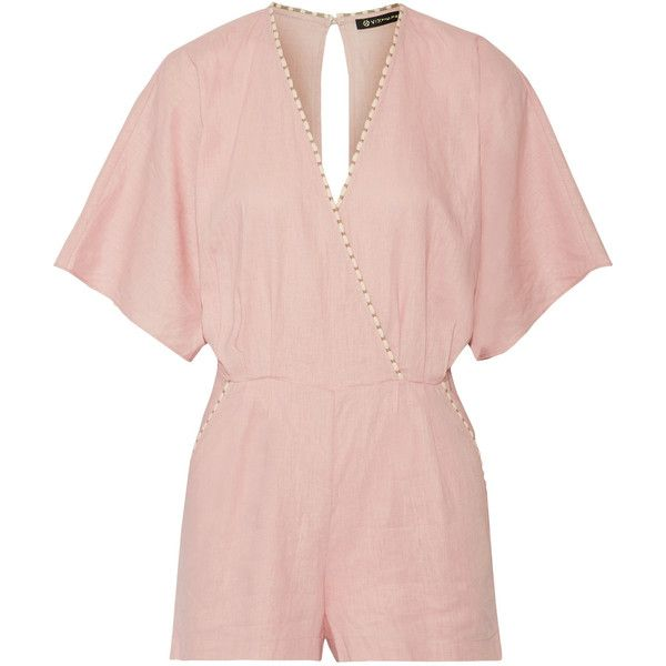 Vix Marion wrap-effect linen-blend playsuit found on Polyvore featuring jumpsuits, rompers, pastel pink, pink rompers, wrap rompers, vix, beach rompers and playsuit romper