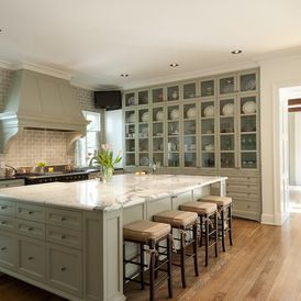 Love The Full Wall Of Glass Front Cabinets In This Farm House Kitchen Call Franks