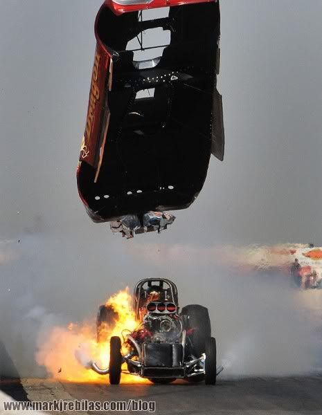 Funny Car flipping the lid