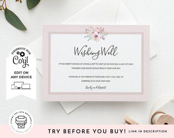 Printable Wishing Well Template Editable Fl Corjl Boho Elegant Card Diy
