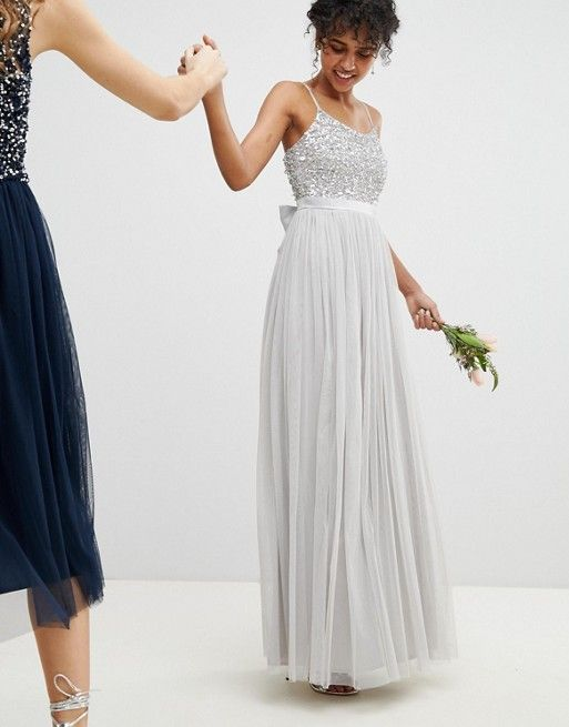2a4e3886e52b Maya | Maya Cami Strap Sequin Top Tulle Detail Maxi Bridesmaid Dress