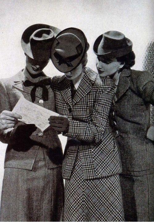 Sharply dressed vintage women, 1940s! 40s suits ladies women wool jacket skirt plaid tweed hats gloves photo print ad models
