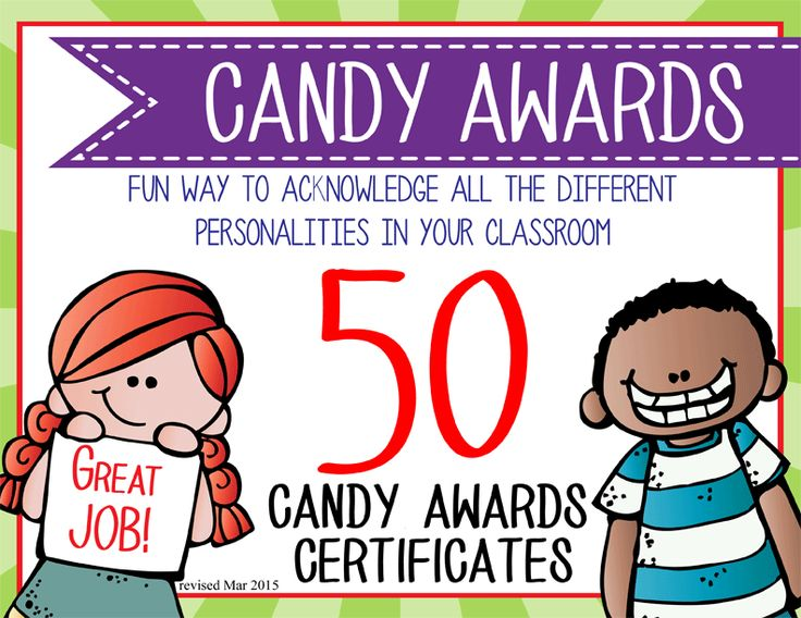 Need a fun way to acknowledge all the difference personalities in your classroom.   This purchase includes 50 Candy Award Certificates (8 1/2 x 11).