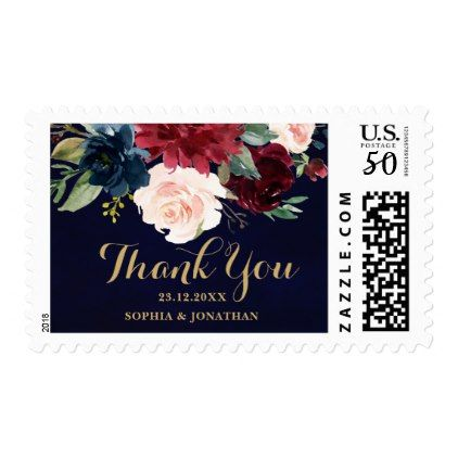 Burgundy Red Navy Floral Rustic Boho Wedding Postage - floral style flower flowers stylish diy personalize