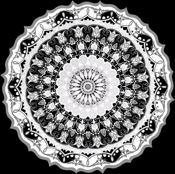 Kaleidoskooppi wallpaper, black. Design Matleena Issakainen