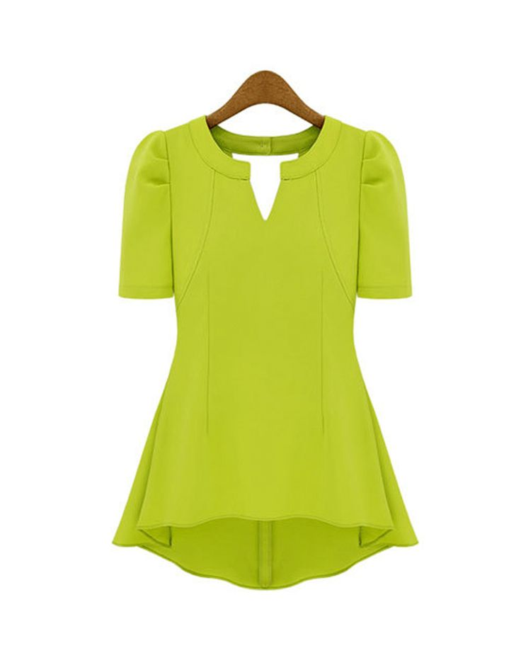 Sleeve Style: Puff Sleeve Style: Fashion Fabric Type: Chiffon, polyester Collar: V-Neck Sleeve Length: Short Style: Fashion Color: Lime green Closure: Zipper (Tag size) Bust Waist Length Sleeve Should