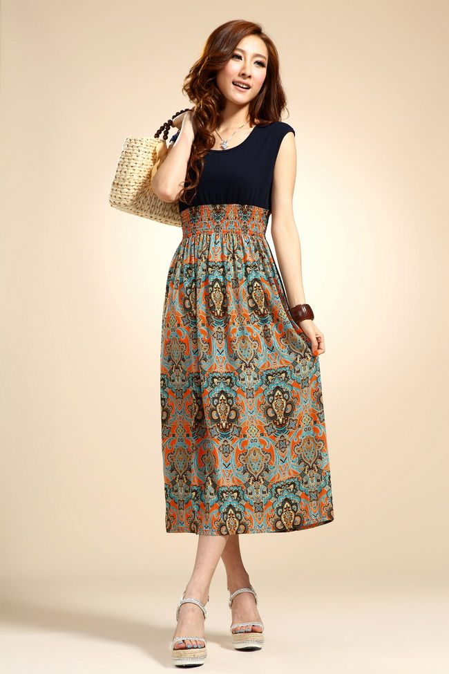 >> Click to Buy << 2016 Fashion Summer New Chiffon Bohemian Retro POP Pattern Stitching Sleeveless Vest Dress, 4-color select  Free Shipping #Affiliate