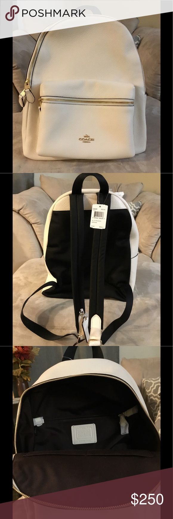 Beige Coach backpack purse Brand new, never used, beautiful Coach backpack purse. Perfect condition. Coach Bags