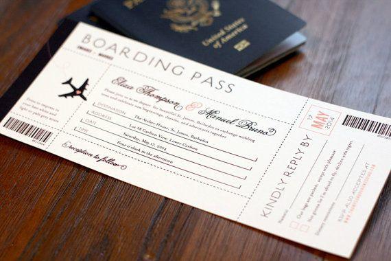 Invitación de boda boda destino de embarque