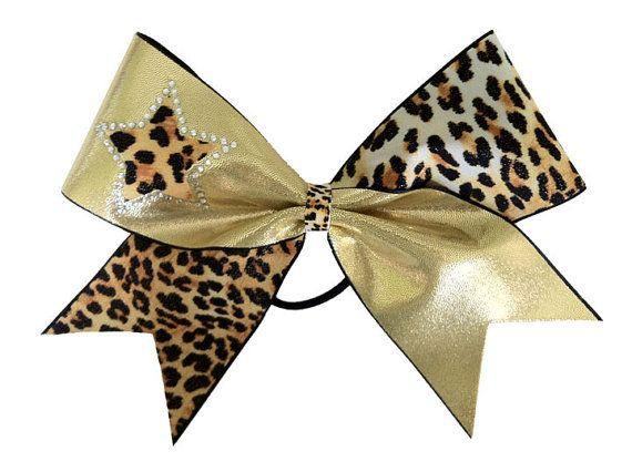 Cheerleading Hair Bow Cheetah Print & Gold by LuckyGirlCheerBows, $15.00
