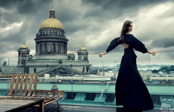 Ballerina Anastasia Matvienko In Front Of St. Isaac's Cathedral, St. Petersburg