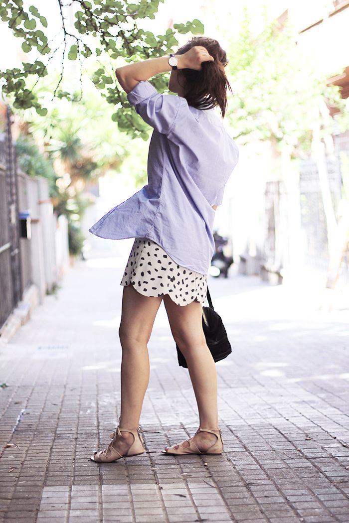 oversized shirt over skirt