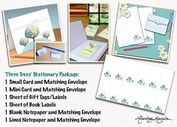 Three Trees Stationary Package  6 Items  by miraculousmosquito, $7.00