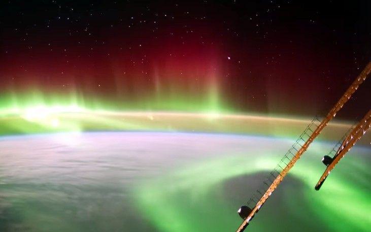 Северное сияние над Новой Зеландией из космоса