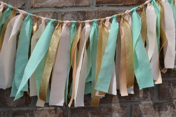 Wedding/Birthday Banner mint green/light peach and GOLD Glitter ribbon wedding banner home decor birthday party decor