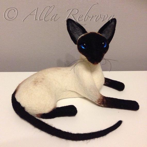 Needle Felted 100 Wool Siamese Cat Filztiere Siamkatze Und Siamesische Katze