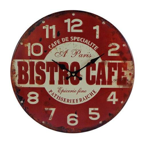 Retro Vintage French Bistro Cafe Kitchen Wall Clock