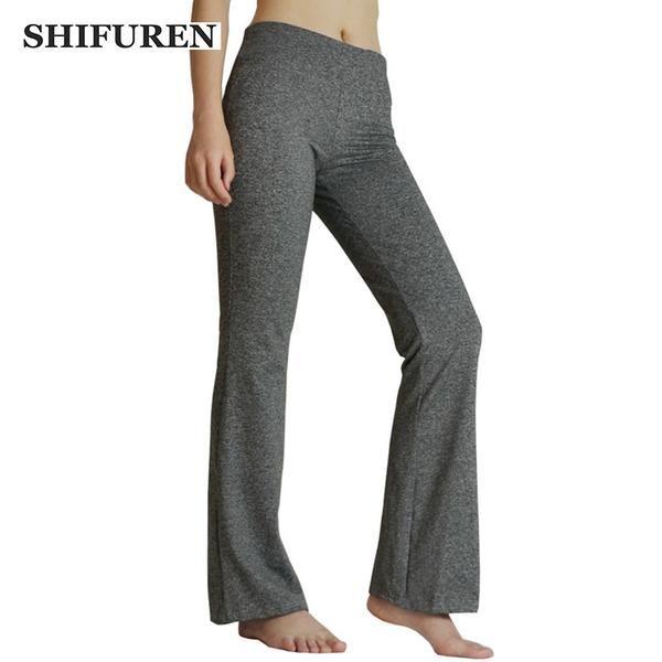 SHIFUREN Women Yoga Pants Loose Gym Workout Training Trousers Elastic Female Sports Exercise Fitness Running Jogging Flare Pants