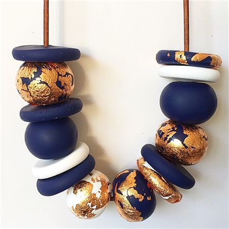 Navy, White and Copper Polymer Clay Necklace