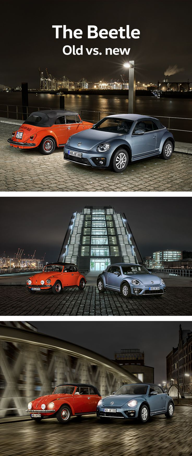 A night photo shoot at several locations around the harbour in Hamburg starring two Volkswagen cars and modern architecture: the classic Beetle Cabriolet 1302 and the modern Beetle Denim.