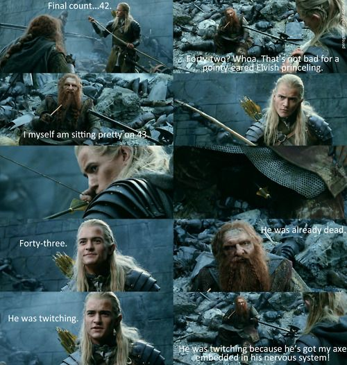 """He was twitching because he's got my axe embedded in his nervous system!"": The Lord, Legolas And Gimli, Favorite Scene, The Hobbit, Middleearth, Funny, Movie, Middle Earth, Rings Quotes"