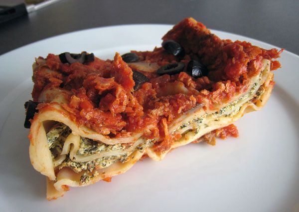 Lasagne se špenátem, houbami a tofu | Veganotic