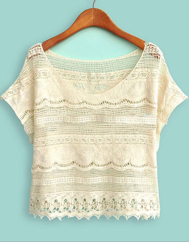 Beige Batwing Sleeve Crochet Lace Crop Top - Sheinside.com
