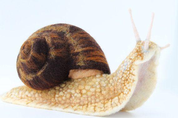 Needle Felted Land Snail Large Snail Sculpture by YvonnesWorkshop