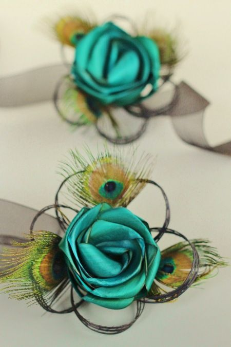 Peacock wrist corsage