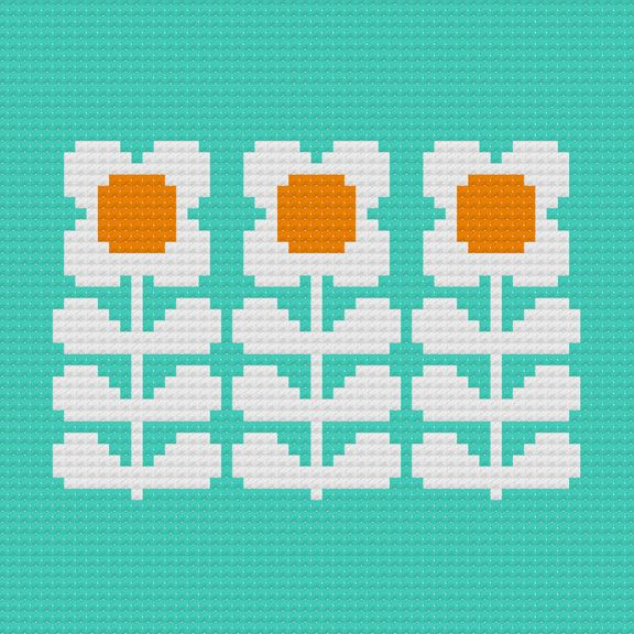 Kitschy Digitals :: Sewing & Needlework Patterns :: Retro Flowers Cross-Stitch Pattern