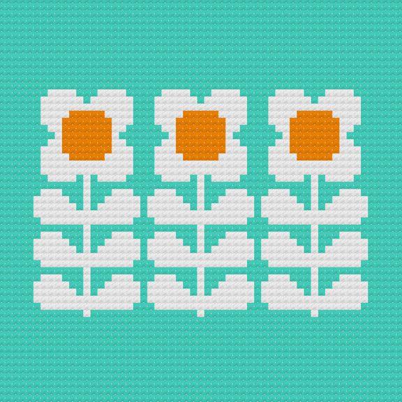 kvetinky Kitschy Digitals :: Sewing & Needlework Patterns :: Retro Flowers Cross-Stitch Pattern