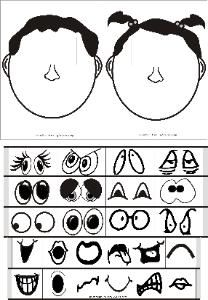 Actividad: expresa diferentes emociones en los rostros. Material recorta y pega.