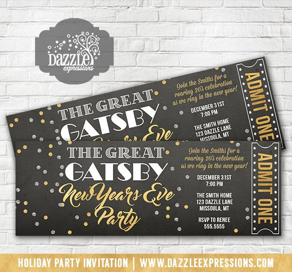Printable The Great Gatsby Inspired New Years Eve Party Ticket Invitation | Gold and Silver Confetti | Roaring 20's Holiday Party | Ring in the New Year | Birthday or Any Event | Cocktails Party | Adult NYE Party | Mask Ball | Matching Party Decorations Available! Banner, Food Labels, Favor Tag, Drink Label, Signs, Straw Flags | www.dazzleexpress...