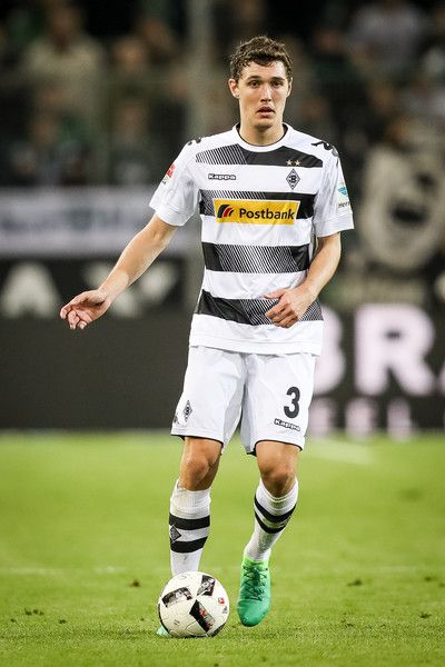 Andreas Christensen of Moenchengladbach controls the ball during the Bundesliga match between Borussia Moenchengladbach and Hertha BSC at Borussia-Park on April 5, 2017 in Moenchengladbach, Germany.