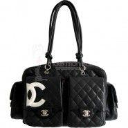 Chanel sac Cambon Vintage matelassé en cuir d'agneau noir Occasion