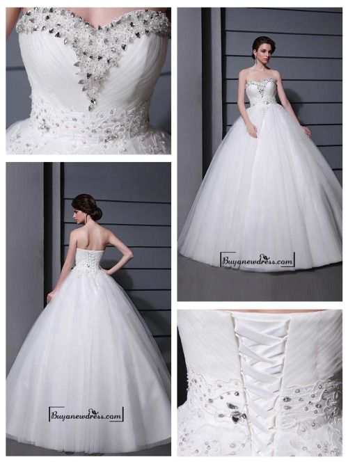 Alluring Tulle&Satin Ball gown Sweetheart Neckline Raised Waistline Wedding Dress