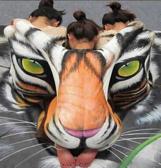 Tiger Face Body Painting | funny-wall.com