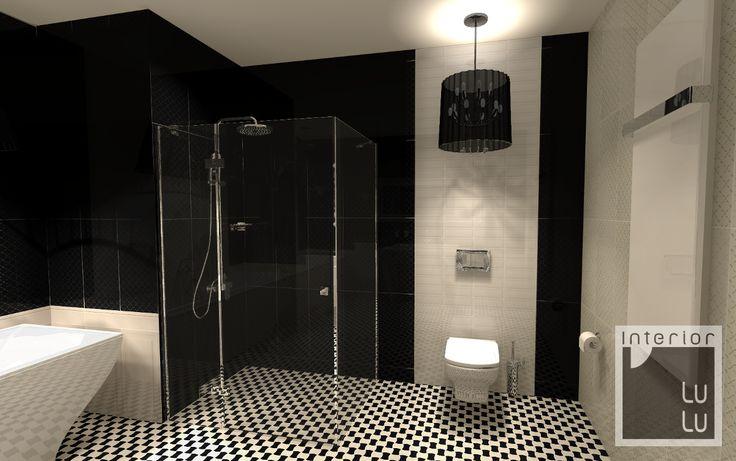 Klasyczna łazienka biało-czarna