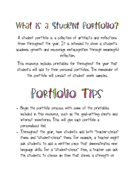 Student Portfolios: a collection of printables for throughout the year - $6.99  This collection includes student portfolio printables for throughout the year that will encourage meaningful reflection and build metacognitive skills.