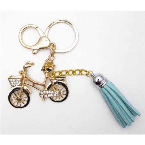 1 Pc Handmade Gold Bling Bicycle Rhinestone Keychain and Purse Hanger