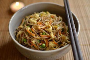 La meilleure recette de Nouilles sautées EXPRESS à la chinoise! L'essayer, c'est l'adopter! 4.3/5 (4 votes), 8 Commentaires. Ingrédients: Ingrédients pour deux personnes: 2 part (environs 150 g) de Nouilles chinoises Envions 80g de viande(porc/poulet/bœuf) coupez en fine julienne Une carotte râpez Une poignée (environs 60g) de petits pois congelés Décongelez en avance Environs 2cm de poireau Coupez en fine rondelle Une demie c. à soupe de sauce de soj...