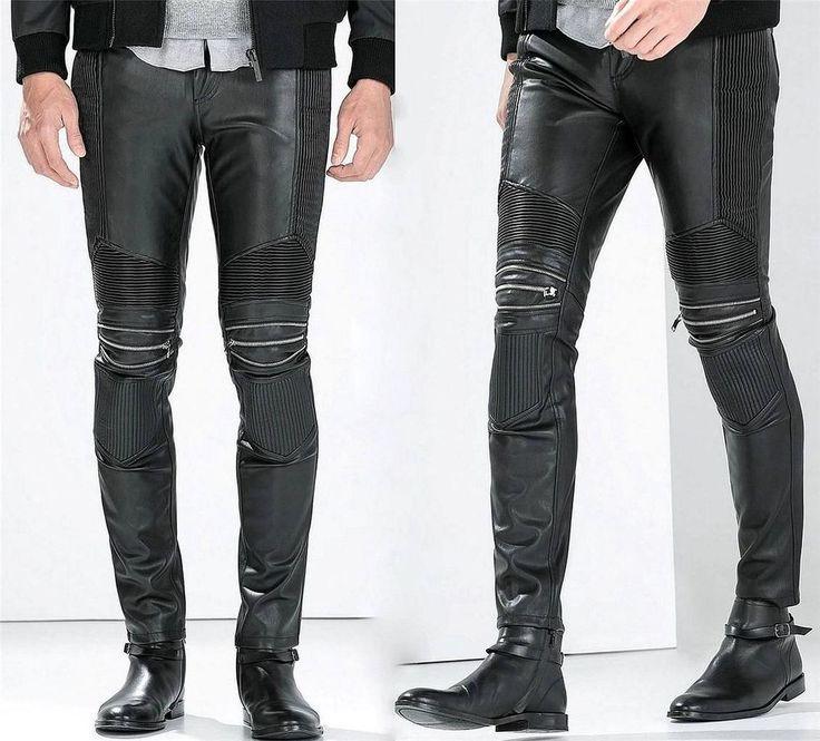 ZARA Man BNWT Black Synthetic Faux Leather Biker Trousers With Zips 0706/320