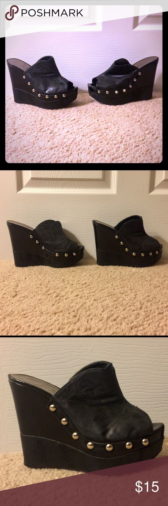 Black Platform Wedge Sandals Black Platform Wedge Sandals with Silver Studs. Some wear, but still in great condition. These are VERY comfortable, I just can no longer wear them. Shoes Wedges